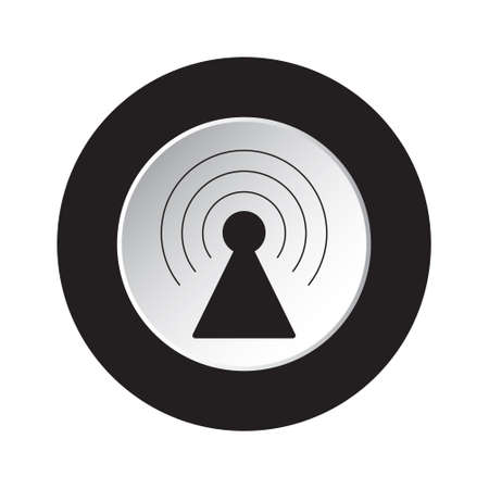wireless signal: Round isolated black and white button with black transmitter tower icon