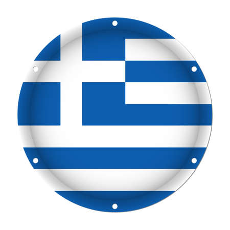 Round metallic flag of Greece with six screw holes on a white background Illustration