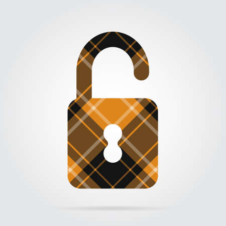 Orange-black isolated tartan icon with white stripes in open padlock and shadow on a gray background Illustration
