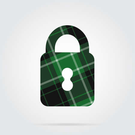 green, black isolated tartan icon with white stripes - closed padlock and shadow in front of a gray background