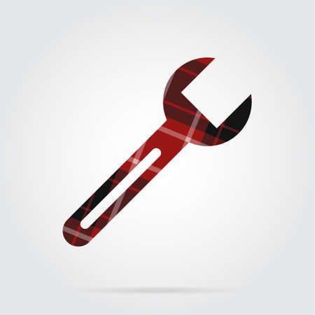 red, black isolated tartan icon with white stripes - spanner and shadow in front of a gray background Illustration
