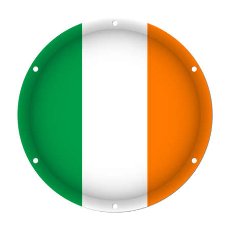 round metallic flag of Ireland with six screw holes in front of a white background