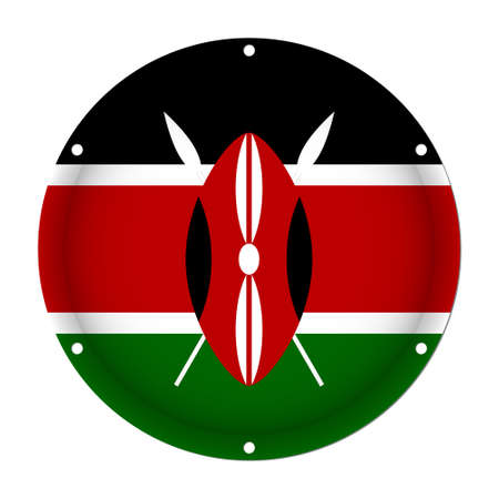 Round metallic flag of Kenya with six screw holes in front of a white background