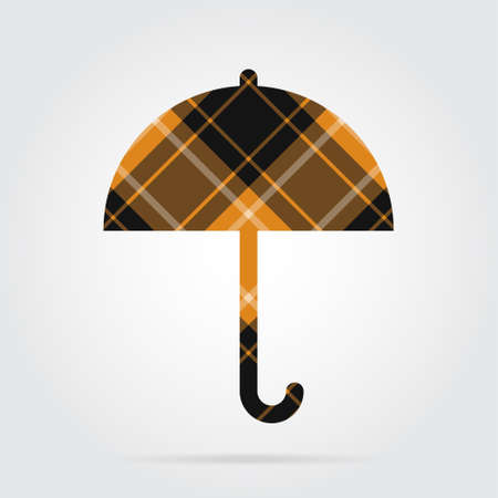 Orange, black isolated tartan icon with white stripes - umbrella and shadow in front of a gray background Illustration