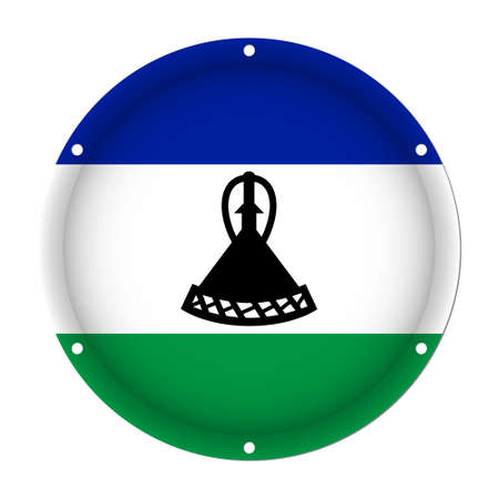 metallic button: Round metallic flag of Lesotho with six screw holes in front of a white background