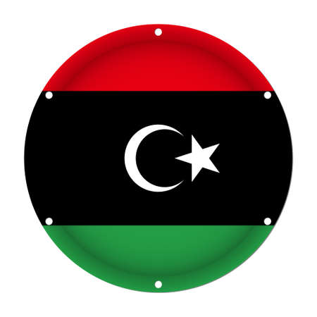 sheet metal: Round metallic flag of Libya with six screw holes in front of a white background