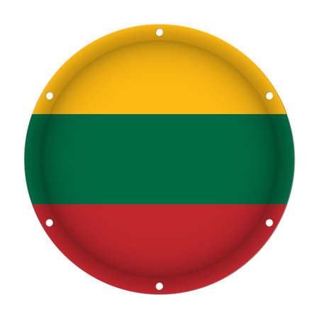 Round metallic flag of Lithuania with six screw holes in front of a white background