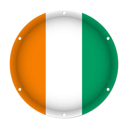 round metallic flag of Ivory Coast with six screw holes in front of a white background Illustration