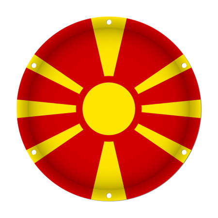 round metallic flag of Macedonia with six screw holes in front of a white background