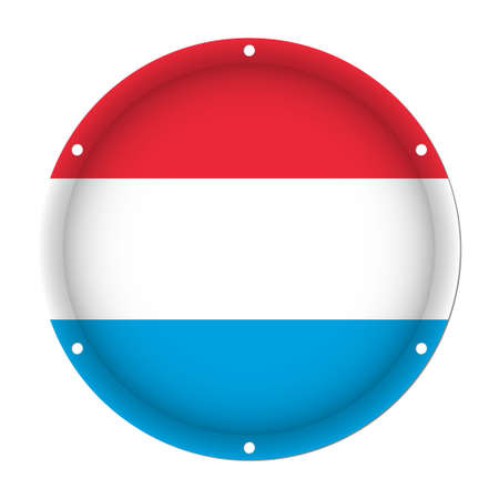 round metallic flag of Luxembourg with six screw holes in front of a white background Illustration