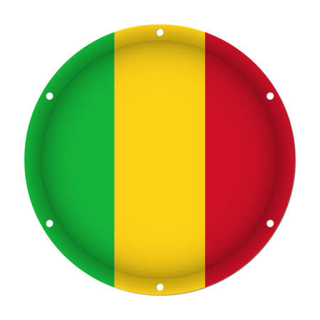 hole: round metallic flag of Mali with six screw holes in front of a white background Illustration
