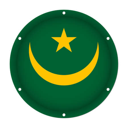 round metallic flag of Mauritania with six screw holes in front of a white background Illustration