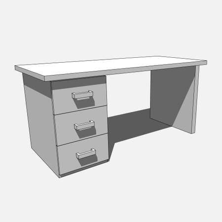 three dimensional illustration - grayscale desk with three drawers with shadow in front of a gray background Illustration