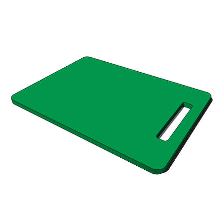 three dimensional illustration - green isolated plastic kitchen breadboard with hole and shadow in front of a white background