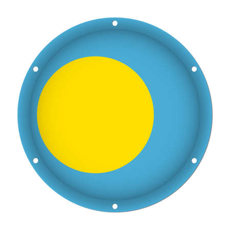 round metallic flag of Palau with six screw holes in front of a white background
