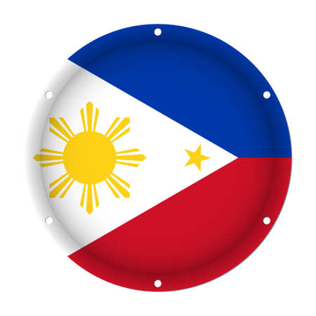 round metallic flag of Philippines with six screw holes in front of a white background