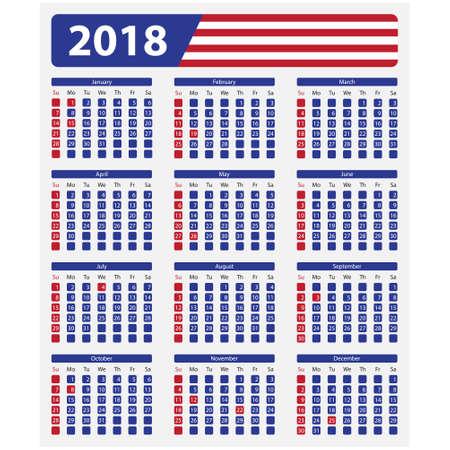 미국 달력 2018 - 공식 공휴일과 비공개 일주일이 일요일에 시작됩니다.