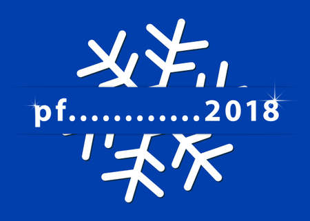 New year wishes - standard usa greeting card, 5 x 7 inches. White snowflake with text on a blue background.