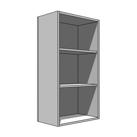 Three dimensional illustration simple isolated cabinet with three shelves.