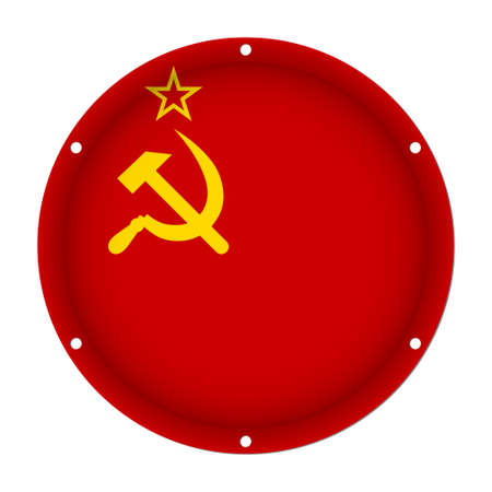round metallic flag of Soviet Union with six screw holes in front of a white background Illustration