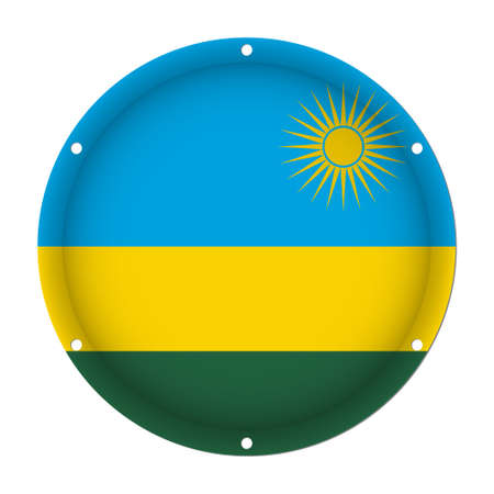 round metallic flag of Rwanda with six screw holes in front of a white background