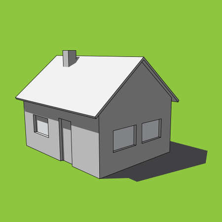 three dimensional illustration - grayscale simple isolated house with windows, door and chimney in front of a green background