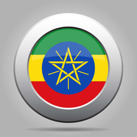 National flag of Ethiopia. Shiny metal gray round button with shadow.