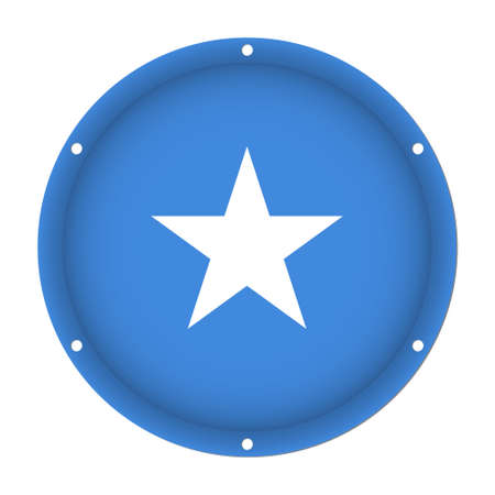 Round metallic flag of Somalia with six screw holes in front of a white background