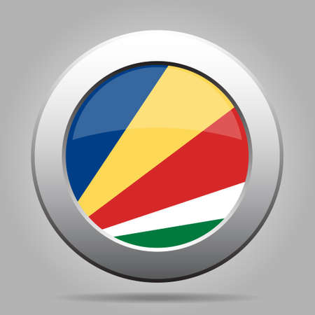 National flag of Seychelles. Shiny metal gray round button with shadow.