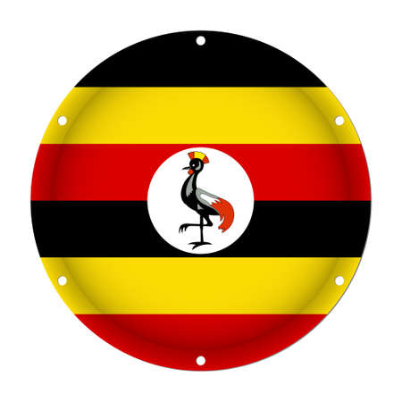 Round metallic flag of Uganda with six screw holes in front of a white background