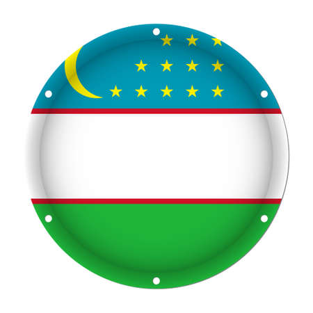 Round metallic flag of Uzbekistan with six screw holes in front of a white background