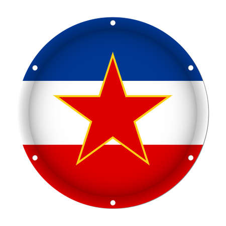 round metallic flag of Yugoslavia with six screw holes in front of a white background