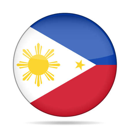 National flag of Philippines. Shiny round button with shadow. Illustration