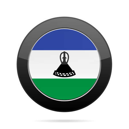 National flag of Lesotho. Shiny black round button with shadow. Illustration