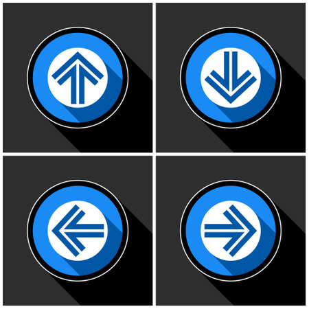 four white, blue arrows with black shadows in different directions in front of a dark gray background Ilustração