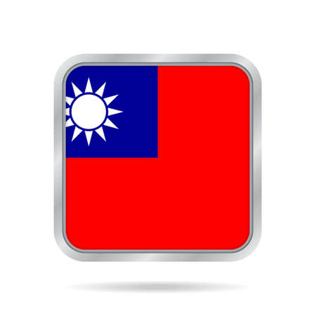 National flag of Taiwan. Shiny metallic gray square button with shadow.