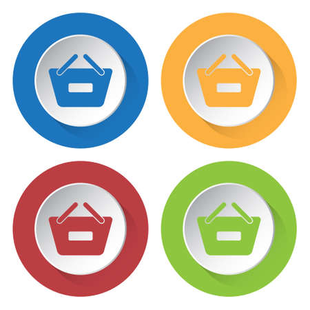 Set of four round colored buttons and icons. Shopping basket minus, remove. Иллюстрация