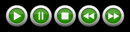 green metallic music control buttons set - five icons with shadows in front of a black background Illustration