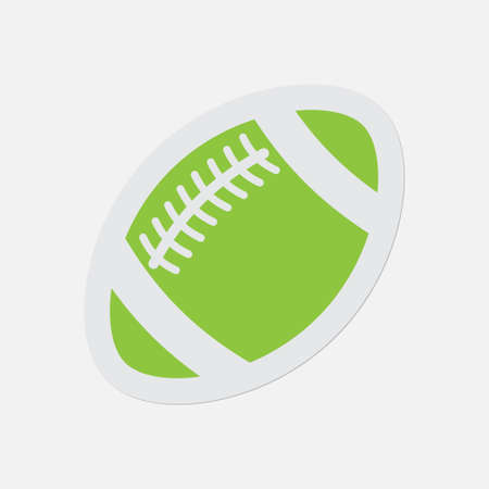simple green icon with light gray contour and shadow - american football ball on a white background