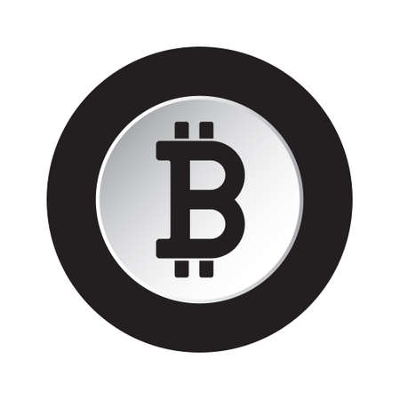 round isolated black and white button with black bitcoin crypto currency symbol icon Ilustracja