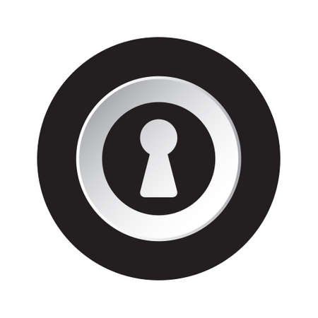 round isolated black and white button with black keyhole icon
