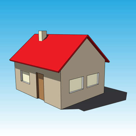 three dimensional illustration - simple colored isolated house with windows, door and chimney in front of a blue background Illustration