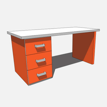 three dimensional illustration - orange, white desk with three drawers with shadow in front of a white background
