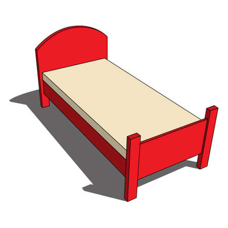 three dimensional illustration - red isolated bed with headboard, beige mattress and shadow in front of a white background