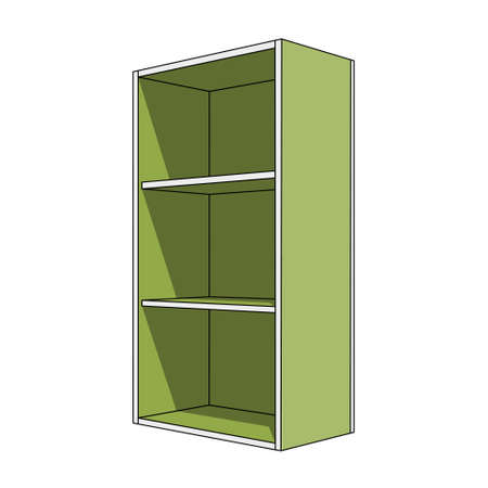 three dimensional illustration - simple green, white isolated cabinet with three shelves and shadow in front of a white background