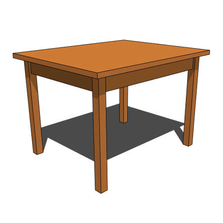 three dimensional illustration - simple brown isolated desk with shadow in front of a white background Illustration