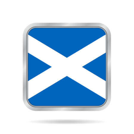National flag of Scotland. Shiny metallic gray square button with shadow. Vector Illustration
