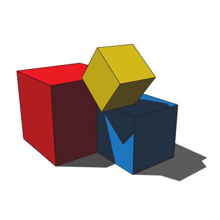 three dimensional illustration - simple red, blue and yellow isolated scattered box cubes with shadow in front of a white background Illustration