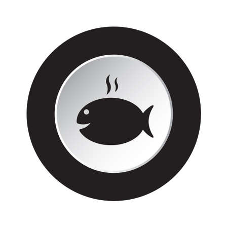 round isolated black and white button icon - grilling fish with smoke