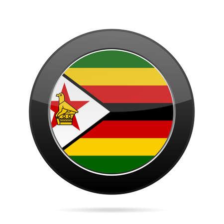 National flag of Zimbabwe. Shiny black round button with shadow.